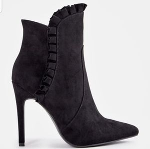 "JustFab ""Latrice"" Black Faux Suede Heeled Booties"
